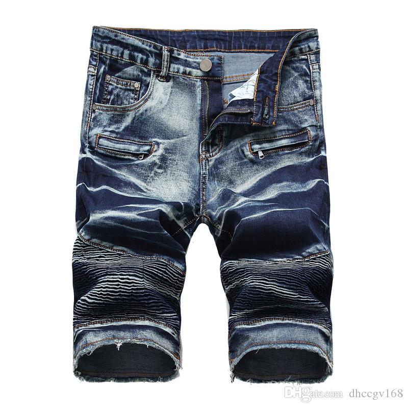 Rock Revival Jeans NEU Französisch Designer Männer Jean Shorts Sommer Ripped Denim Blau Half Knielangen Shorts Slim Fit Shorts Männer heißer Verkauf