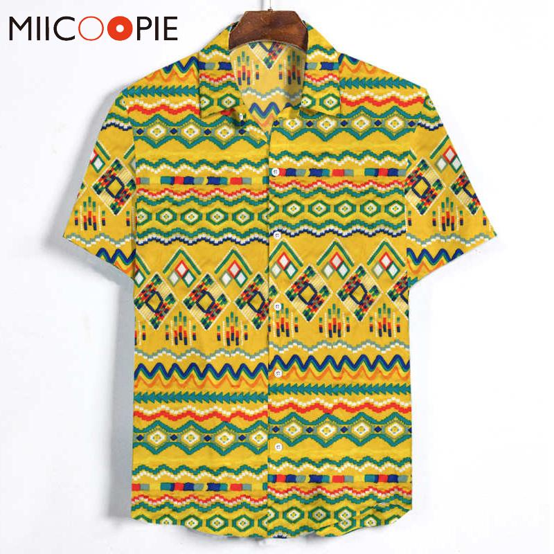 Men's Ethnic Style Casual Shirt Dress Summer Streetwear Surfing Short Sleeved Men Clothes Hawaiian Striped Male Printed Shirts