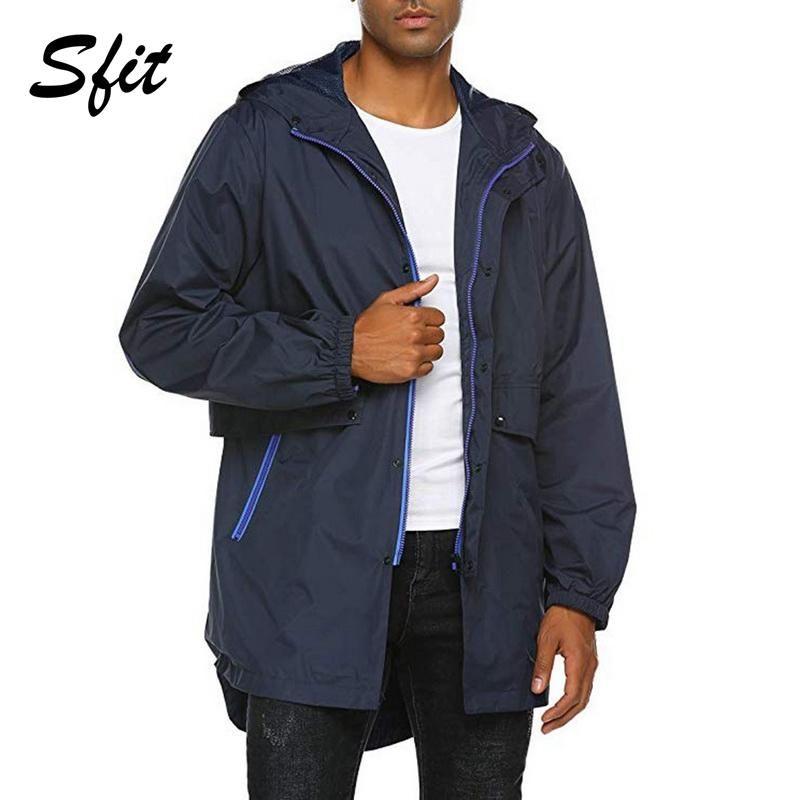 Sfit Mens Breathable Rain Jacket Waterproof with Hood Winter Jackets Outdoor Sports Windbreaker Hiking Jacket Light-weight Coat