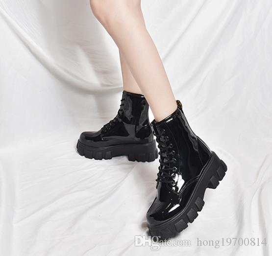 Mujeres Botas tobillo de la manera del resorte del otoño femmes sencilla redondo del cordón Hasta brillante bota de cuero plataforma feminina botas planas femeninas