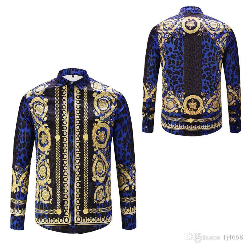 Luxury Fancy Men's Dress Shirts Fashion Harajuku Casual Shirt Men Women Medusa Long Sleeve Slim Fit Party Club Shirts
