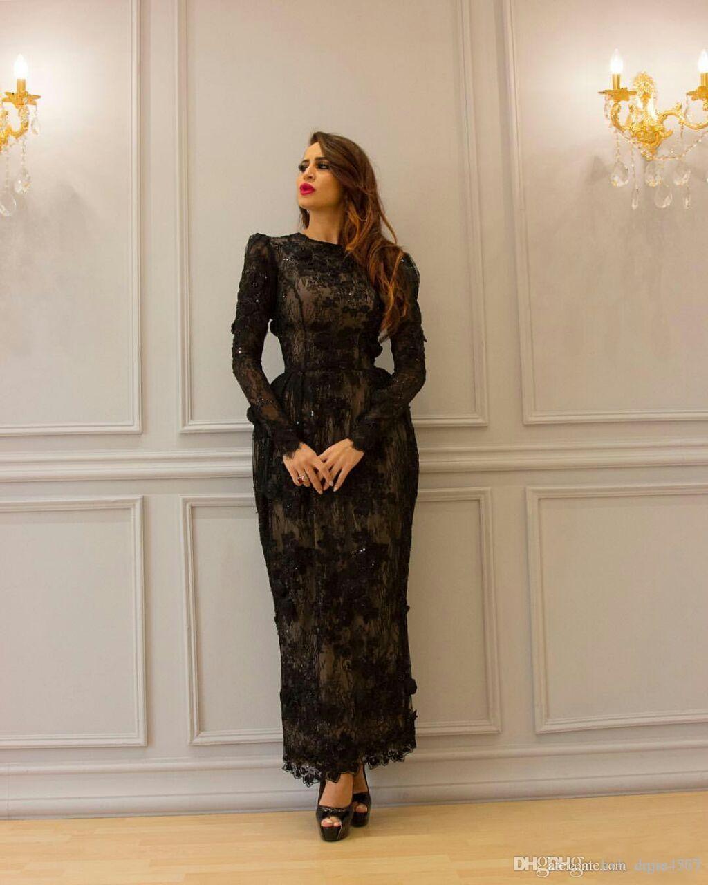 2019 Longitud del vestido Nueva Negro vaina Prom Vestidos de manga larga con cuentas apliques de encaje de tobillo con el partido Vestidos Negro AW364