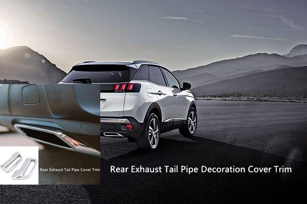 Peugeot için 3008 5008 Allure Erişim Krom Arka Egzoz Susturucu Kuyruk sonu Boru Dekorasyon Kapak Trim 2adet Araç Şekillendirme