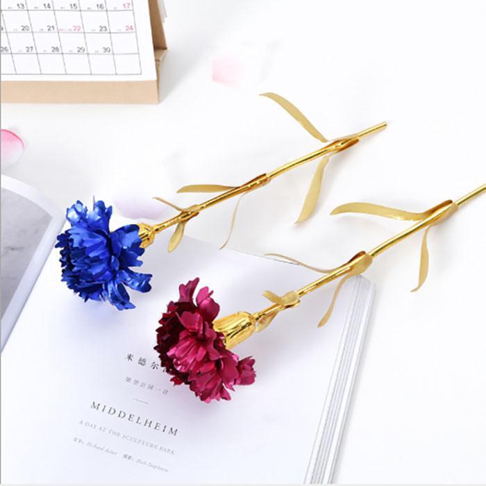 24 K Noel Altın Folyo Kaplama Gül Karanfil Yapay Çiçek Sevgililer Günü Tanıtım Lover'ın Düğün Hediyesi için Kalıcı Korunmuş Güller