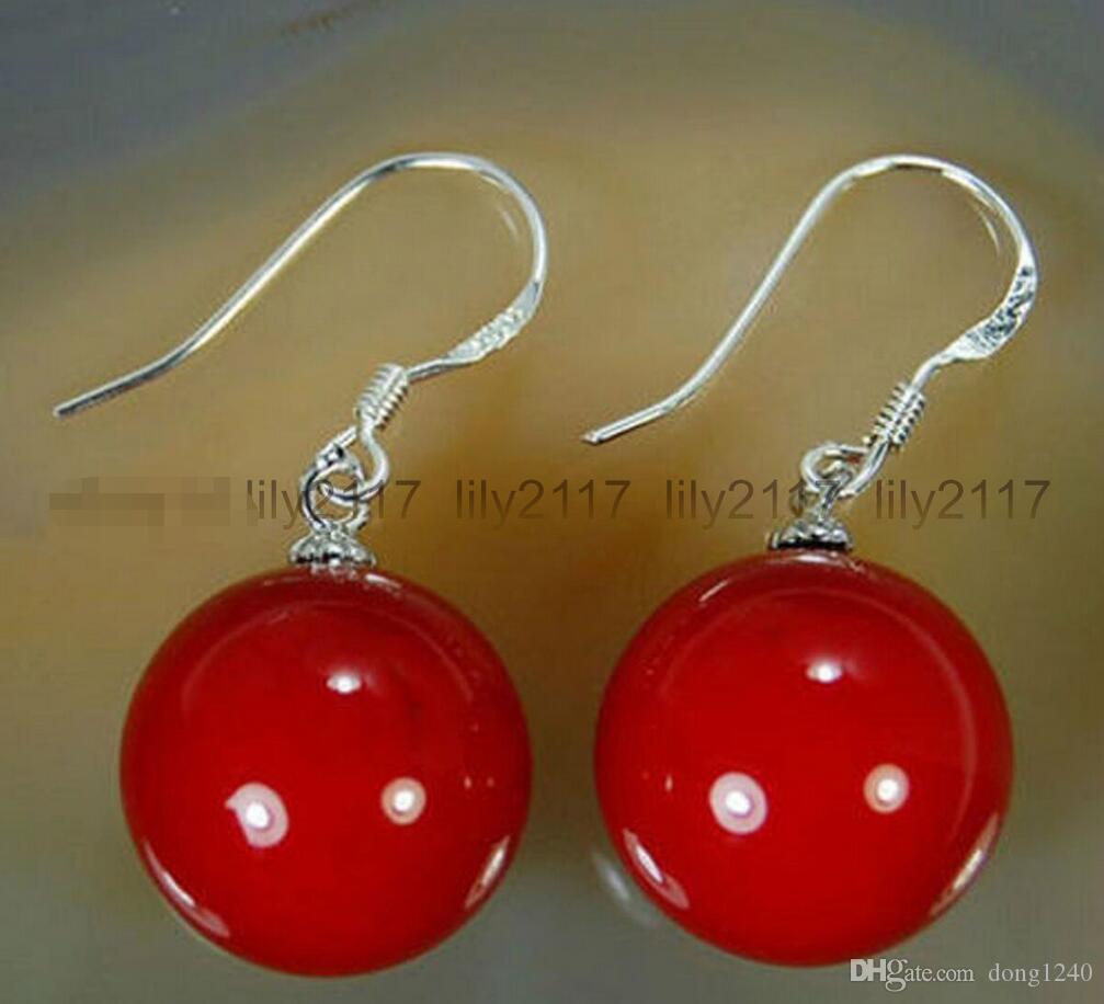 Mode 10mm rote Muschelkernperlen Silber Tropfen / baumeln Haken Ohrringe