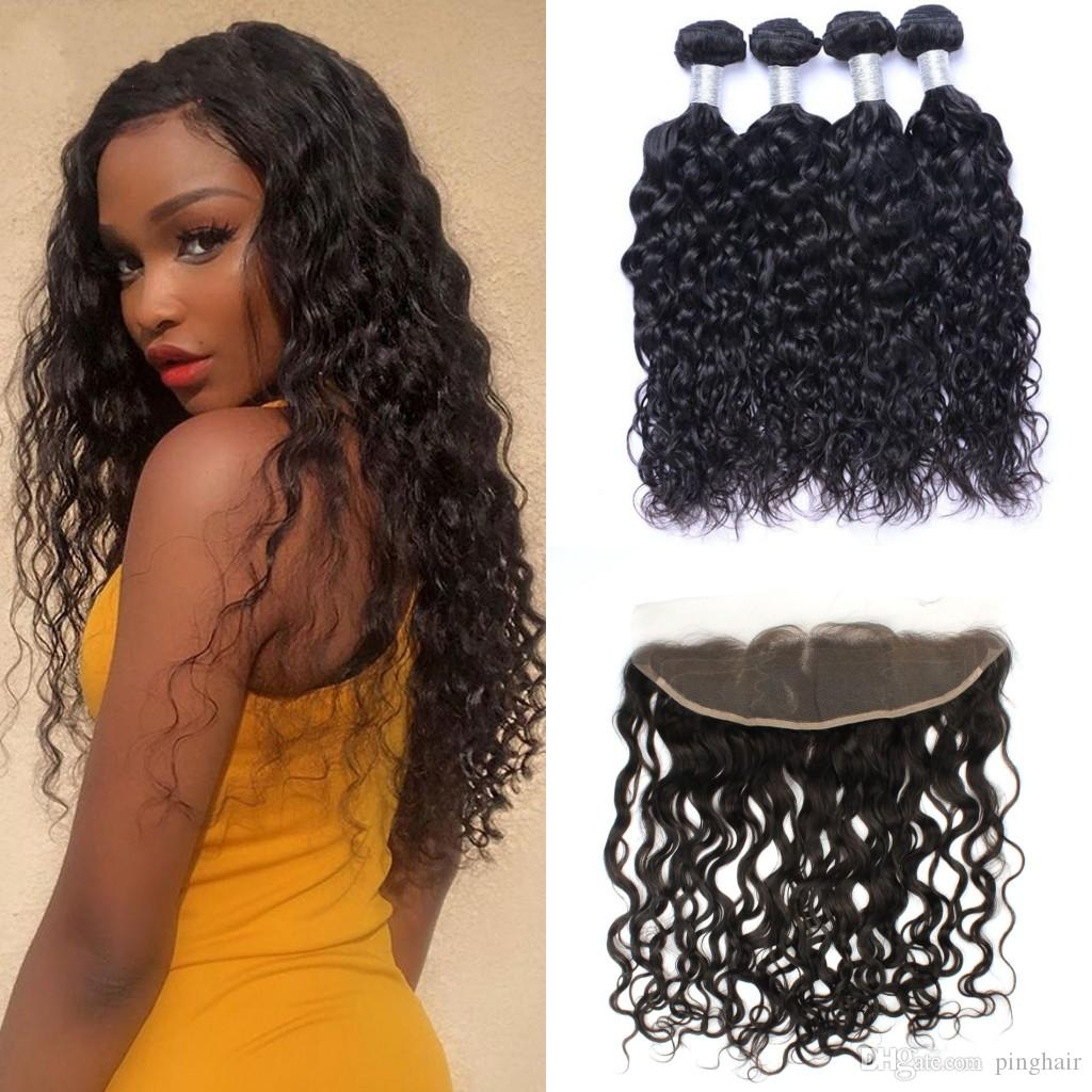 Indian Water Wave Bundles with Lace Frontal Closure 4pcs Virgin Human Hair Bundles with Frontal Cheap Hair