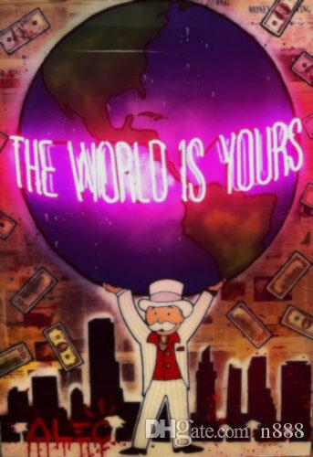 "Alec Monopoly ""The world is yours"" Large Wall Picture Home Decor Handpainted &HD Print Oil Paintings On Canvas For Living Room 190918"