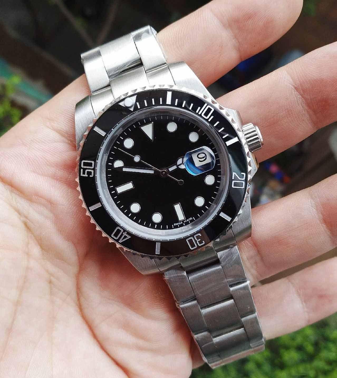 디럭스 남성 시계 자동 기계 남성 시계 2813 운동 세라믹 베젤 116610 모델 스테인레스 스틸 사파이어 손목 시계 시계