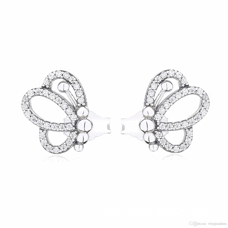 2019 frühling neue kollektion 925 sterling silber sparking butterfly ohrstecker passt europäischen pandora stil schmuck mode ohrringe