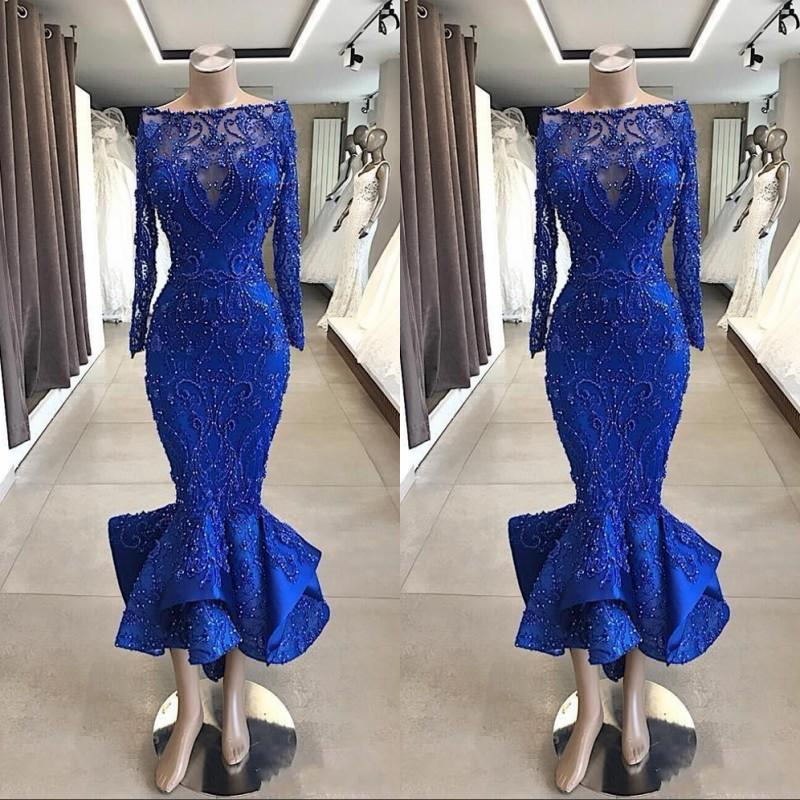로얄 블루 긴 소매 슬림 레이스 댄스 파티 드레스 2020 파란색 정장 짧은 차 길이 인어 특별한 칵테일 드레스