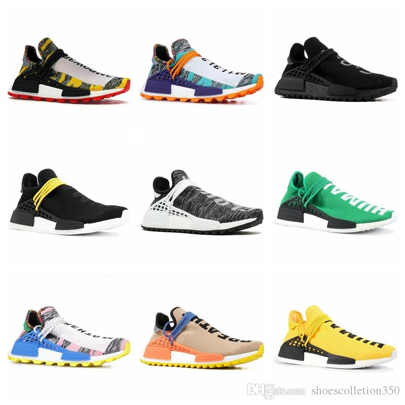 Adidas Pharrell Williams x NMD Human Race Trail HUMANA Pharrell Williams das Mulheres dos homens Hu trilha Nerd creme preto Holi Pacote Solar Mãe designer Moda Sapatos de Desporto
