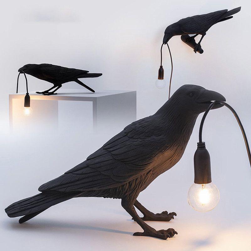 مكتب الإيطالي SELETTI الطيور مصباح الحديثة أسود أبيض الطيور الجدول مصباح الراتنج كرو مصابيح السرير نوم كيد غرفة الفن ديكور المنزل الجدار الشمعدان