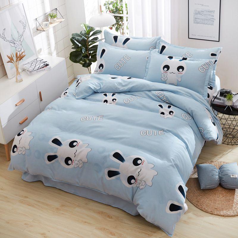 Gray stripe Bedding Set Kid Girls Adult Linen Soft Duvet Cover Pillowcase Bed Sheet/fit sheet twin Queen king size 4pcs