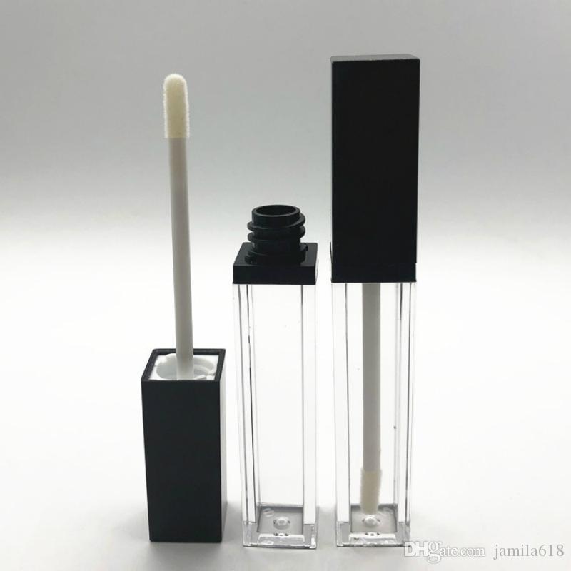 Yüksek Kalite 8ML Kare Siyah Boş Dudak Tüpler Likit Dudak Parlatıcı Şişe Temizle Lipgloss Doldurulabilir şişeler Konteyner Makyaj Ambalaj