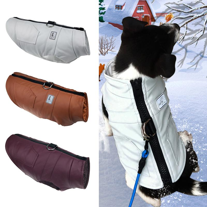 PU Leather Dog Clothes For Small Medium Dogs Winter Warm Thicken Pet Dog Clothing Puppy Jackets French Bull Dog Coat Poodle Vest
