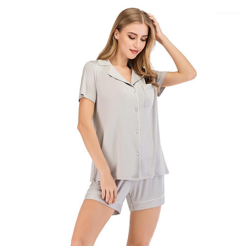 Renk Kısa kollu Şort Gevşek pijamalar Dişi Tasarımcı Giyim Kadınlar Ev Casual Pijama Takımı Çeşitli