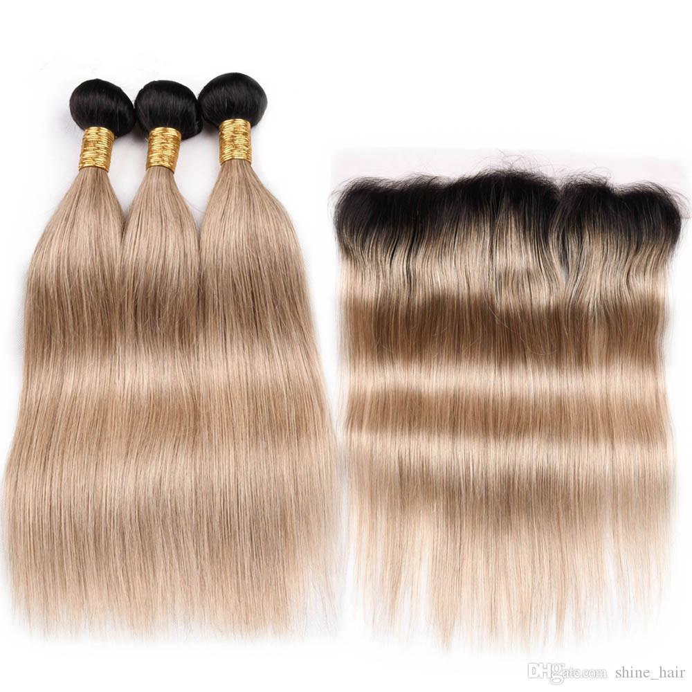 Indian Human Hair 1B 27 Honey Blonde Ombre Weave Bundles with Frontal Straight Ombre Light Brown Hair Wefts with Full Lace Closure 13x4