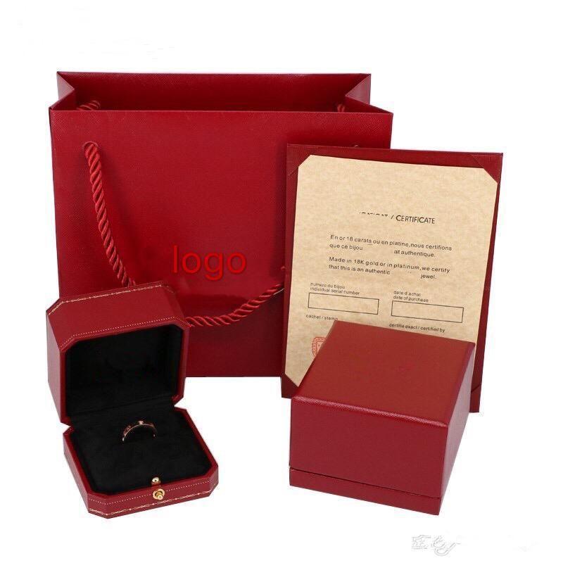 New Love acier de titane Anneaux de mode Bagues Fait référence à des couples bagues en or rose avec Top originale boîte-cadeau