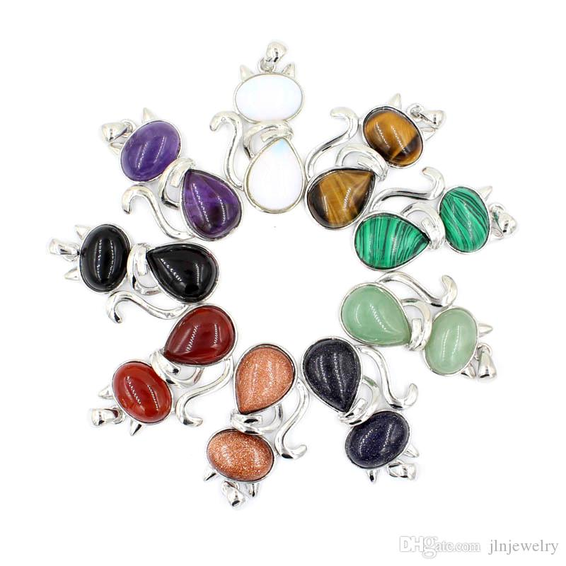 JLN Cute Kitty Cat Stone Pendant Pink Quartz Amethyst Tiger Eye Agate Gemstone Pendant With Brass Chain Necklace For Girls