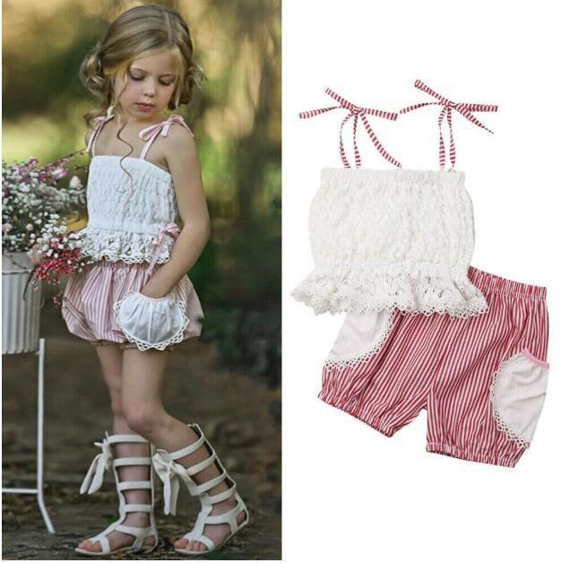 2019 Estate Neonata Neonati Set Bambini Lace Top Sun-top + Stripe Shorts Ragazza 2 pezzi Outfits Bambini Set 5033
