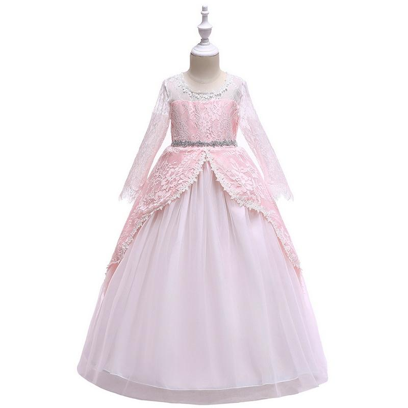 Girl Dresses Princess Long Lace Skirt Long Sleeves Tutu Skirt Formal Party Wedding Ball Gown Kid Clothes