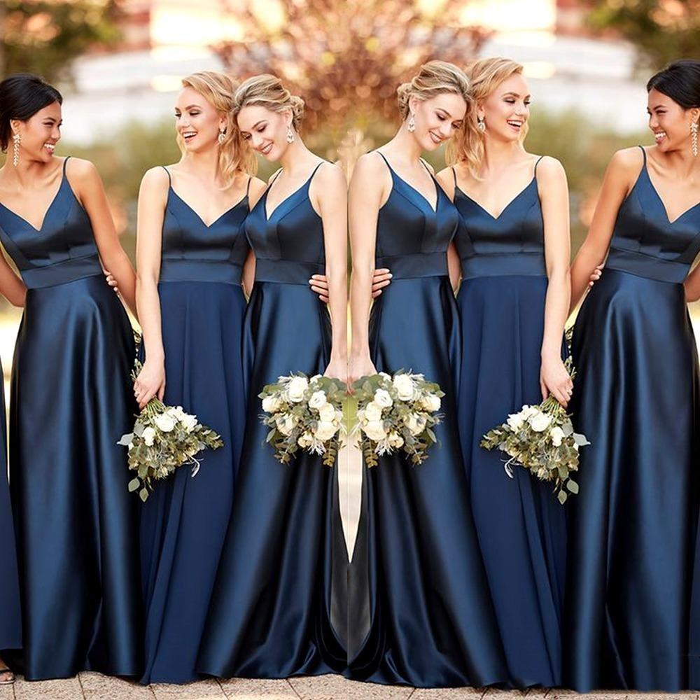 Simple Nouvelle bleu marine de demoiselle d'honneur robes longues 2020 A-ligne de satin bretelles spaghetti robe de bal pour demoiselle d'honneur robe de groupe