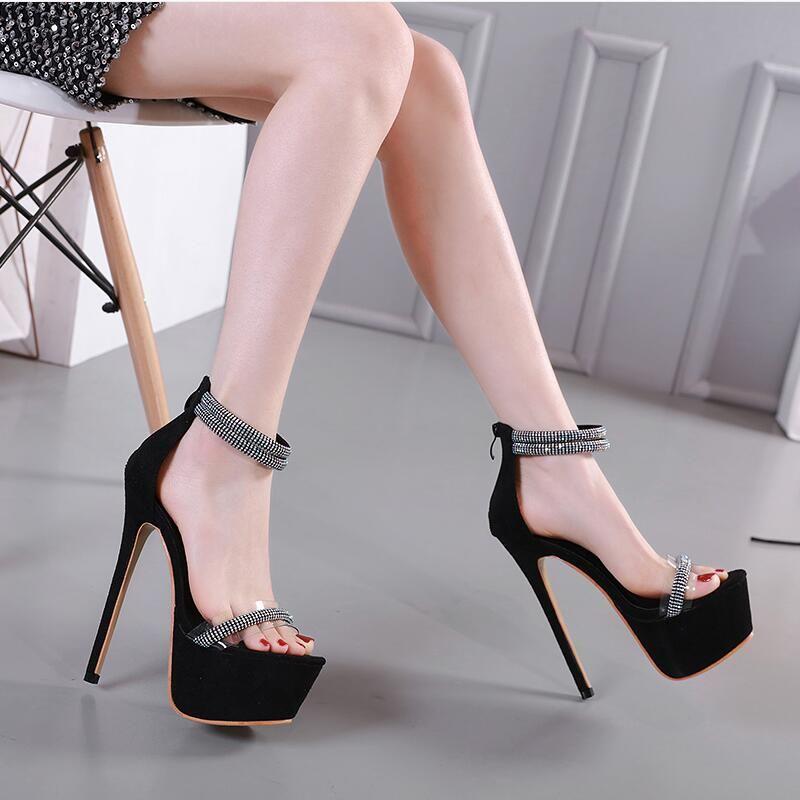 New women/'s shoes back zipper open toe stilettos rhinestones prom formal black