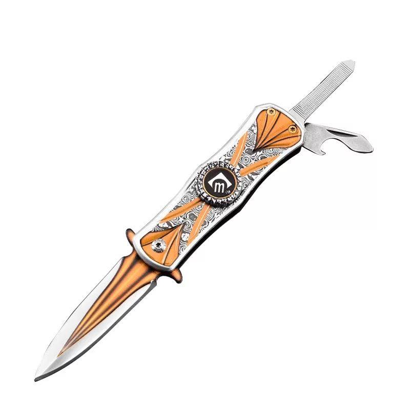 Suggerimento EDC Lama piegante della tasca all'ingrosso del dito Gyro Lama in acciaio inox alluminio maniglia di lancio tattica di sopravvivenza lame di campeggio