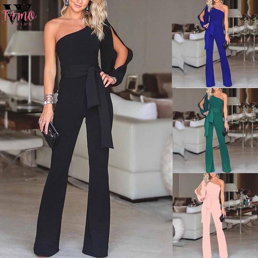 Le donne tuta di estate casuale solida spalla a maniche lunghe tuta fredda Clubwear gamba larga tuta di modo 2019 Dropship M1