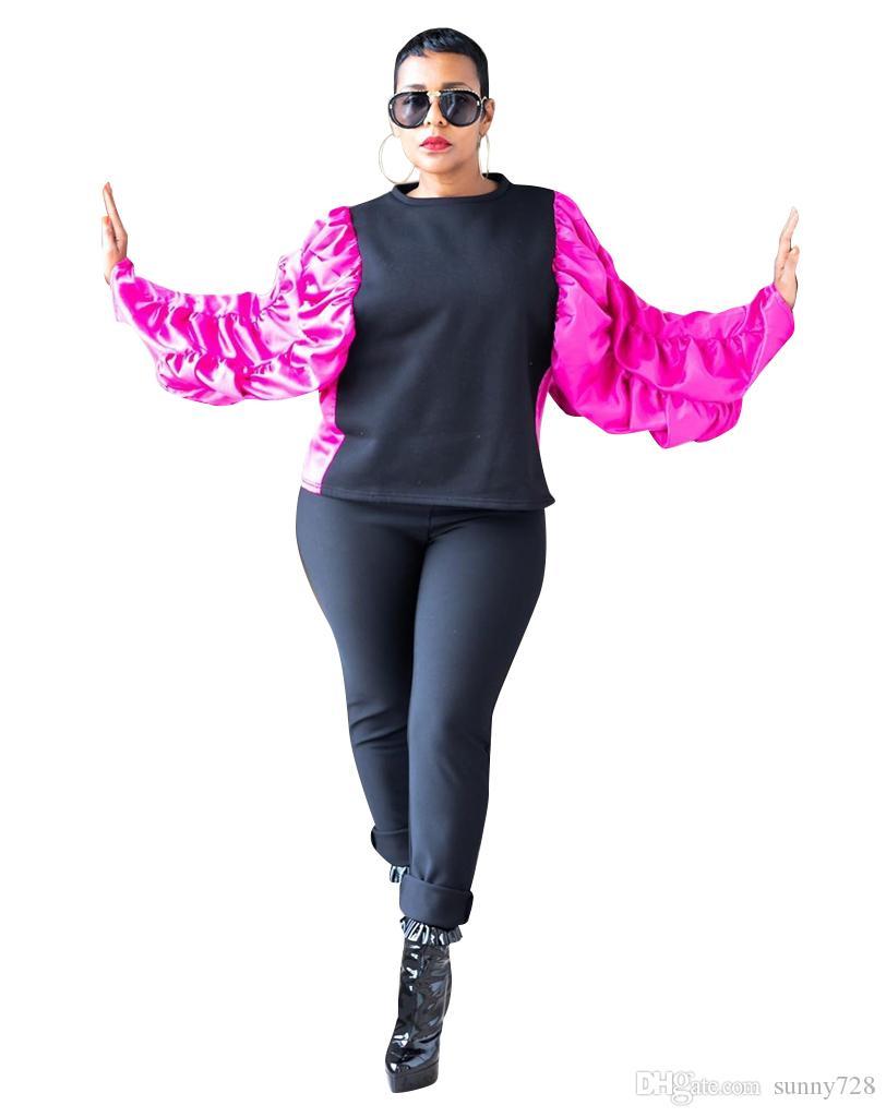 최신 유행 푹신한 프릴 긴팔 티셔츠 여성 티셔츠 2020 인기 색상 패널로 O 목 느슨한 캐주얼 여자 T 셔츠 탑스
