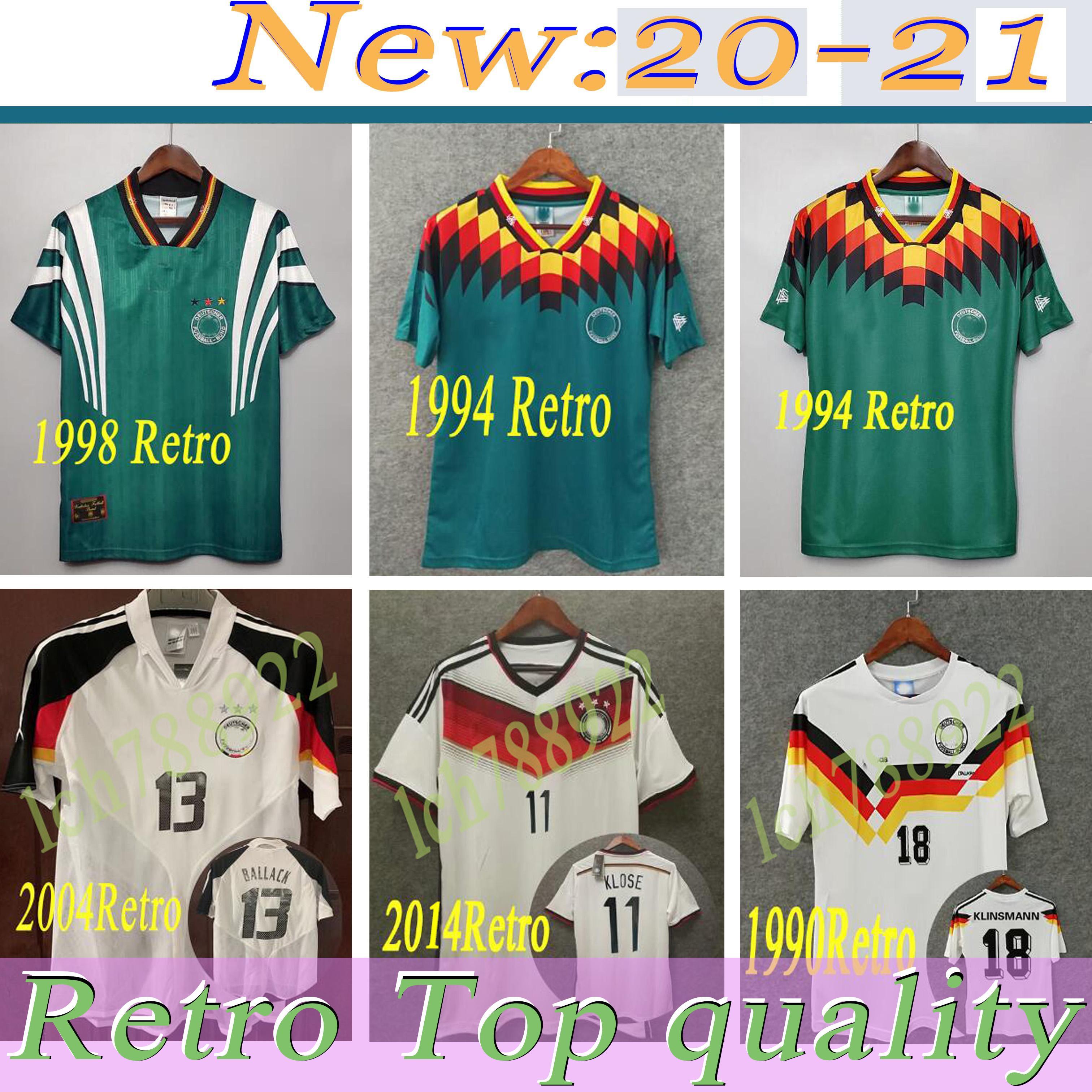 كأس العالم 1990 1998 1988 ألمانيا الرجعية Littbarski Ballack Soccer Jersey Klinsmann Matthias 2006 2014 القمصان Kalkbrenner Jersey 1996 2004