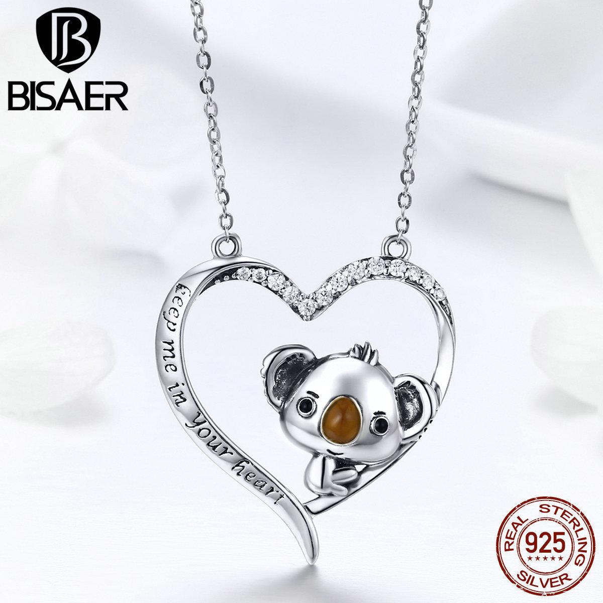 Authentic 925 Sterling Silver Little Bear Koala in Heart Shape Girls Pendant Necklaces Women Collar 925 Silver Jewelry ECN256