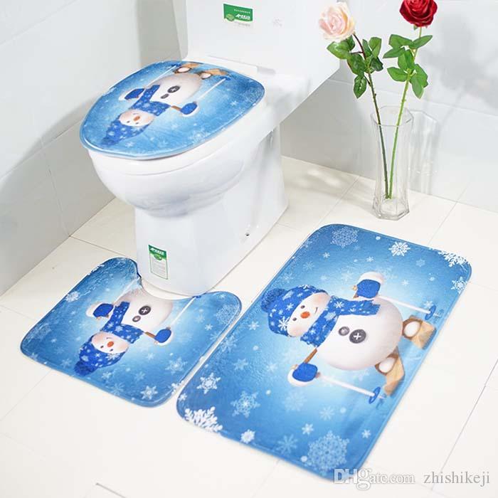 3Pcs / Set di Natale bagno Mat Rug Moquette Toilette Toilet Copertina Christmas sede Bagno Bagno Mat Cucina Zerbini Decor copertina 45x75cm