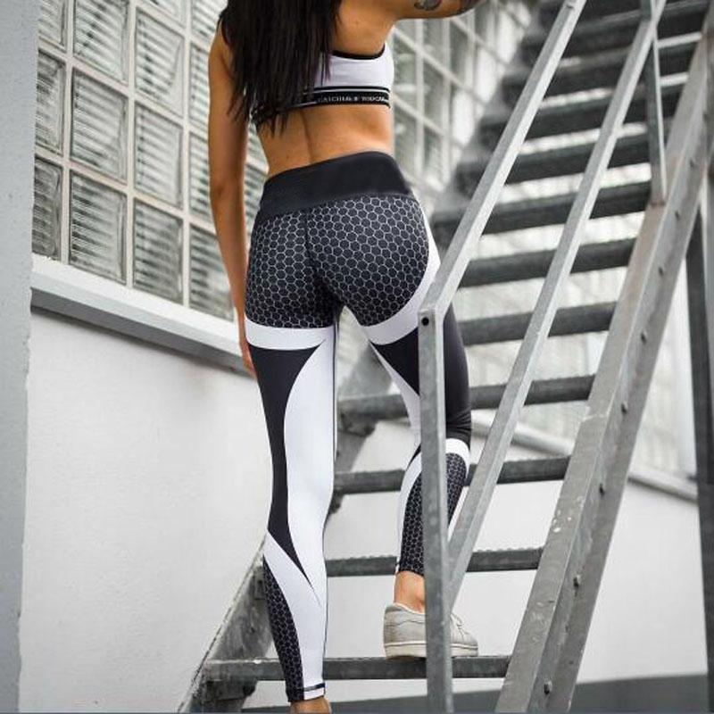Athleisure Gym Honeycomb imprimé Yoga Legging Sport Femmes Fitness Pantalon respirant entraînement Leggins jogging taille haute BuLift
