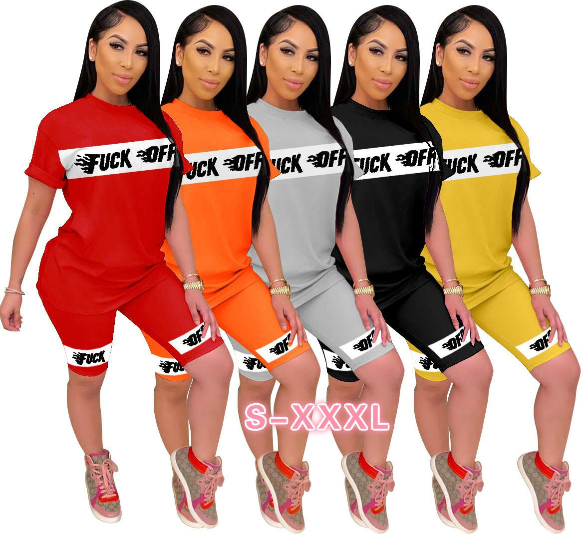 Womens Letter Trajes de manga corta de 2 pedazos del chándal de jogging Sportsuit camisa cortocircuitos trajes de la camiseta de juego de pantalones Deporte vendedor caliente del A263