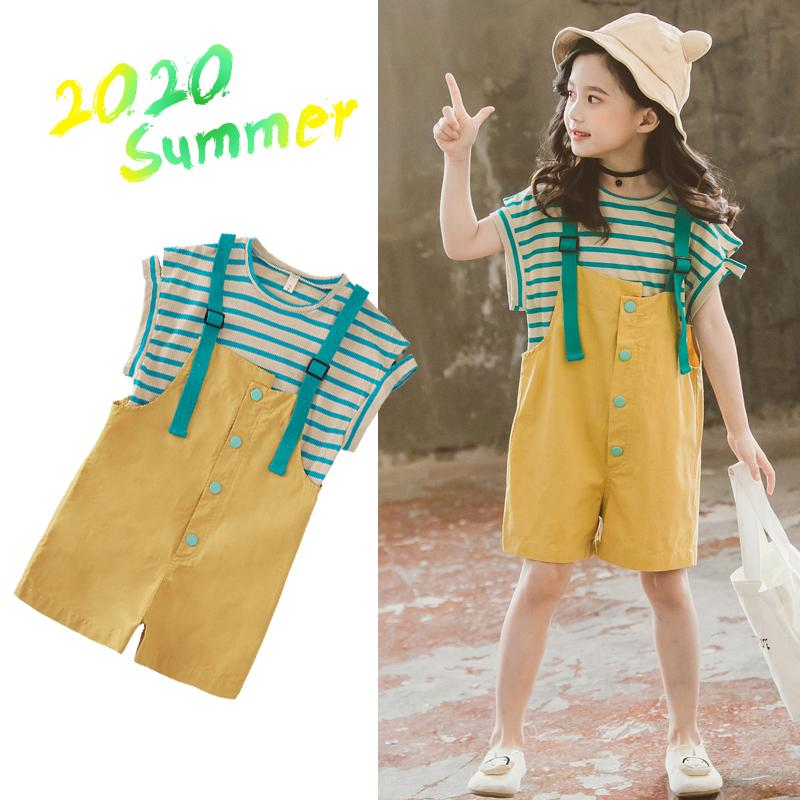 2020 New Girls Clothes Sets Teen Girls Clothing Short Sleeve Tops + Overalls 2pcs Back To School Outfits Clothes for Kids