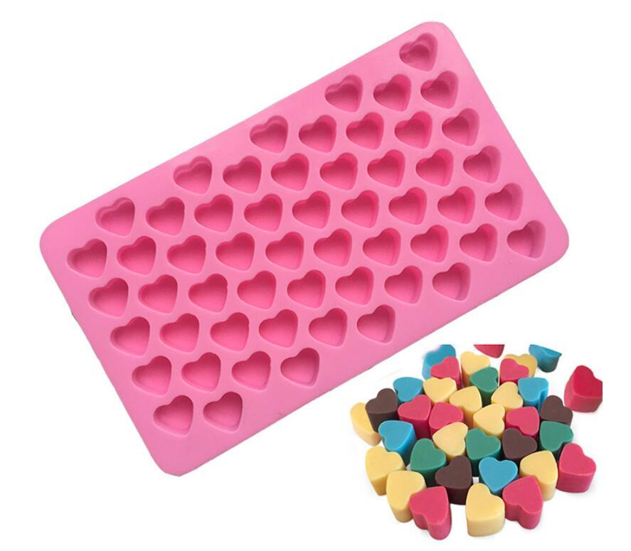 Silicon chocolate molds heart shape 55 holes silicon cake mold silicon ice tray jelly moulds soap mold cake bakeware tools 10.7x18.2x1.5cm