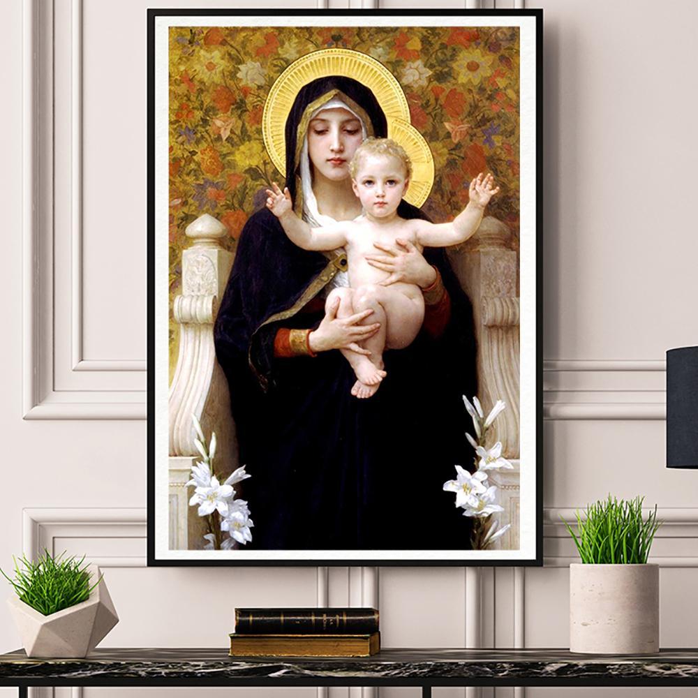 Pinturas Madonna com criança de tela impressões Imagem modulares para sala de estar cartaz na parede Home Decor