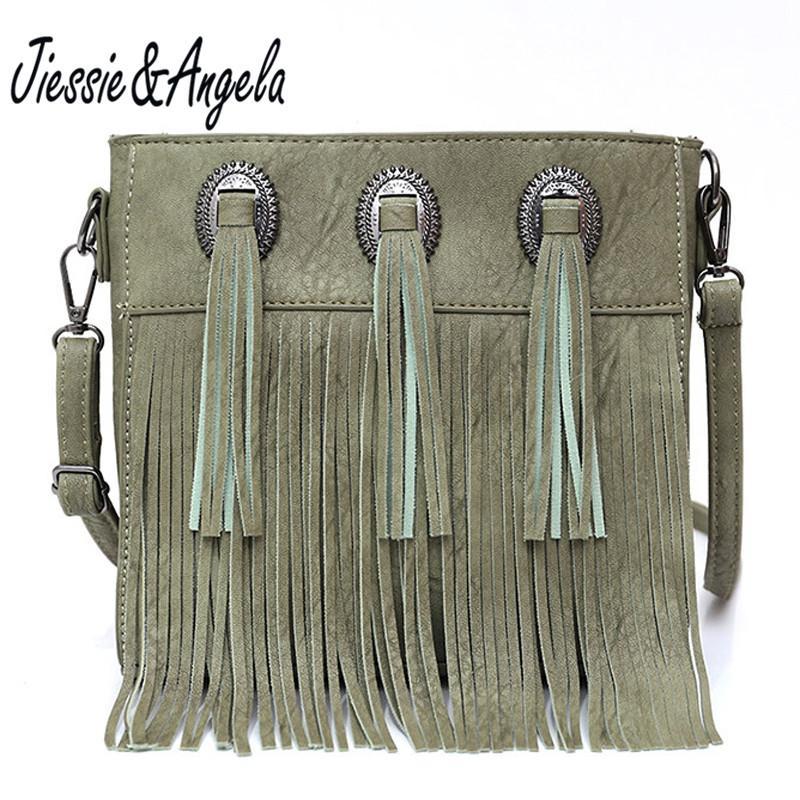 JiessieAngela Mulheres Crossbody Saco Tassel bolsa pequena aba Messenger Bags Mulheres Vintage Bags Bolsa de Ombro