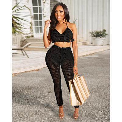 Mulheres Roupa 2 Piece Set Fashion Stylist de secagem rápida Suit malha Tassel Straps Bikini Sexy Pants Suit Sexy Magro Suits Verão Hot Sale