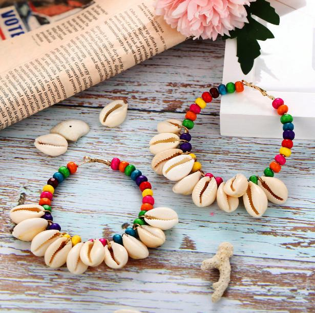 Sale Vintage Retro Unique Designer Fashion Accessories Jewelry Circle Natural Shell Tassel Bohemia Wood Beads Charm Hoop Earrings For Women