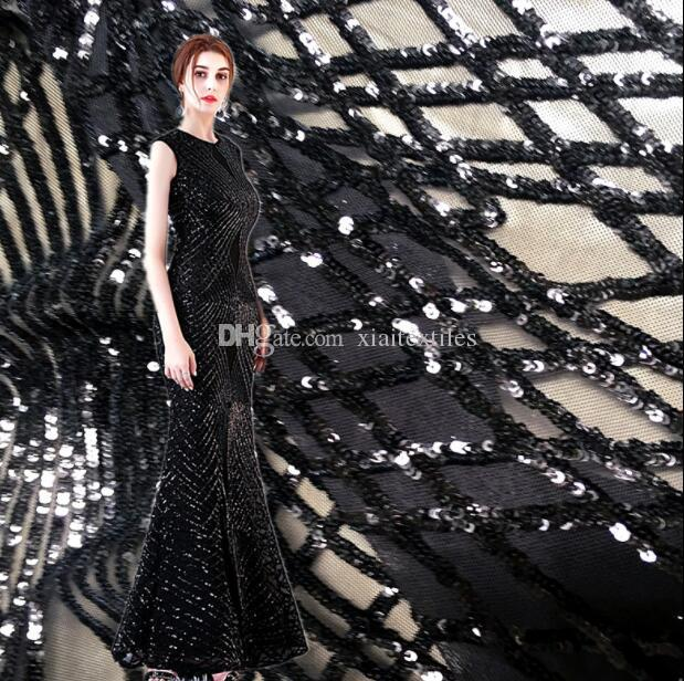 90*130cm Black stretch embroidered mesh sequined dress fabric diy home textiles mannequin wedding cloth embroidered laser sexy fabric C586