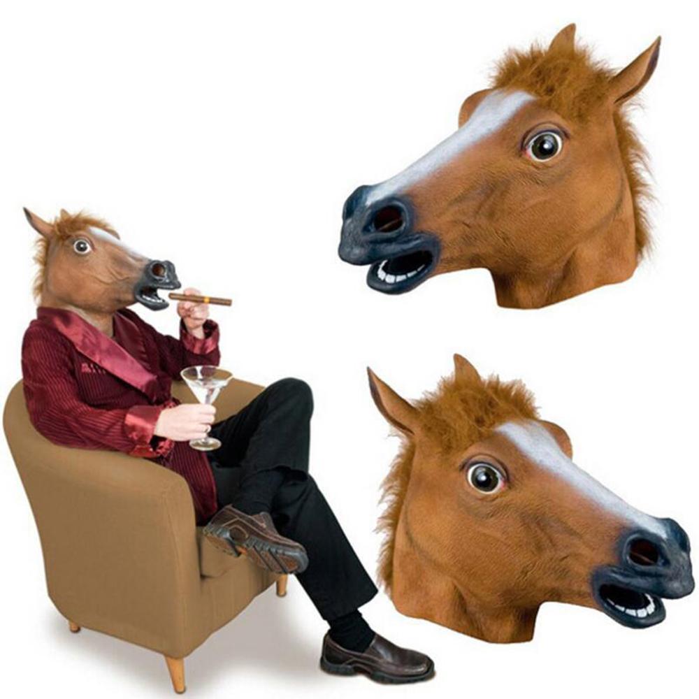 Máscara de cavalo Halloween Máscara de Cabeça de Cavalo Látex Assustador Animal Traje Teatro Prank Partido Louco Halloween Decor 330gE