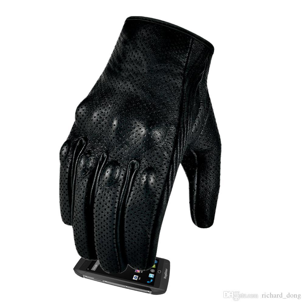 Новый мотоцикл перчатки Премиум сафьян кожа Полный Finger сенсорный экран Мотоцикл перчатки Мотор Спорт передач Мотокросс для мужчин Защитные Обновлено