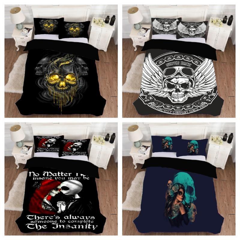 2/3pcs Bedding 3d Digital Skulls Printing Bedding Set Duvet Cover Sets 1Quilt Cover + 1/2 Pillowcases US/EU/AU Size ( No Sheet)