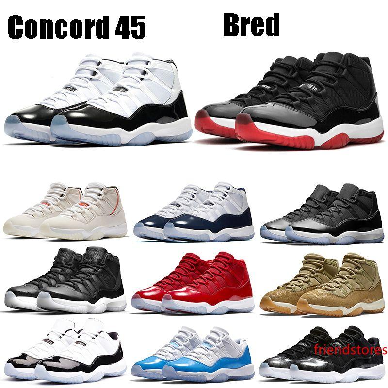 New Bred Jampman 11s Weiß Metallic-Silber-Basketball-Schuhe Concord 45 Low Snake Licht Knochen Space Jam Gym Red Männer Frauen Designer-Turnschuhe