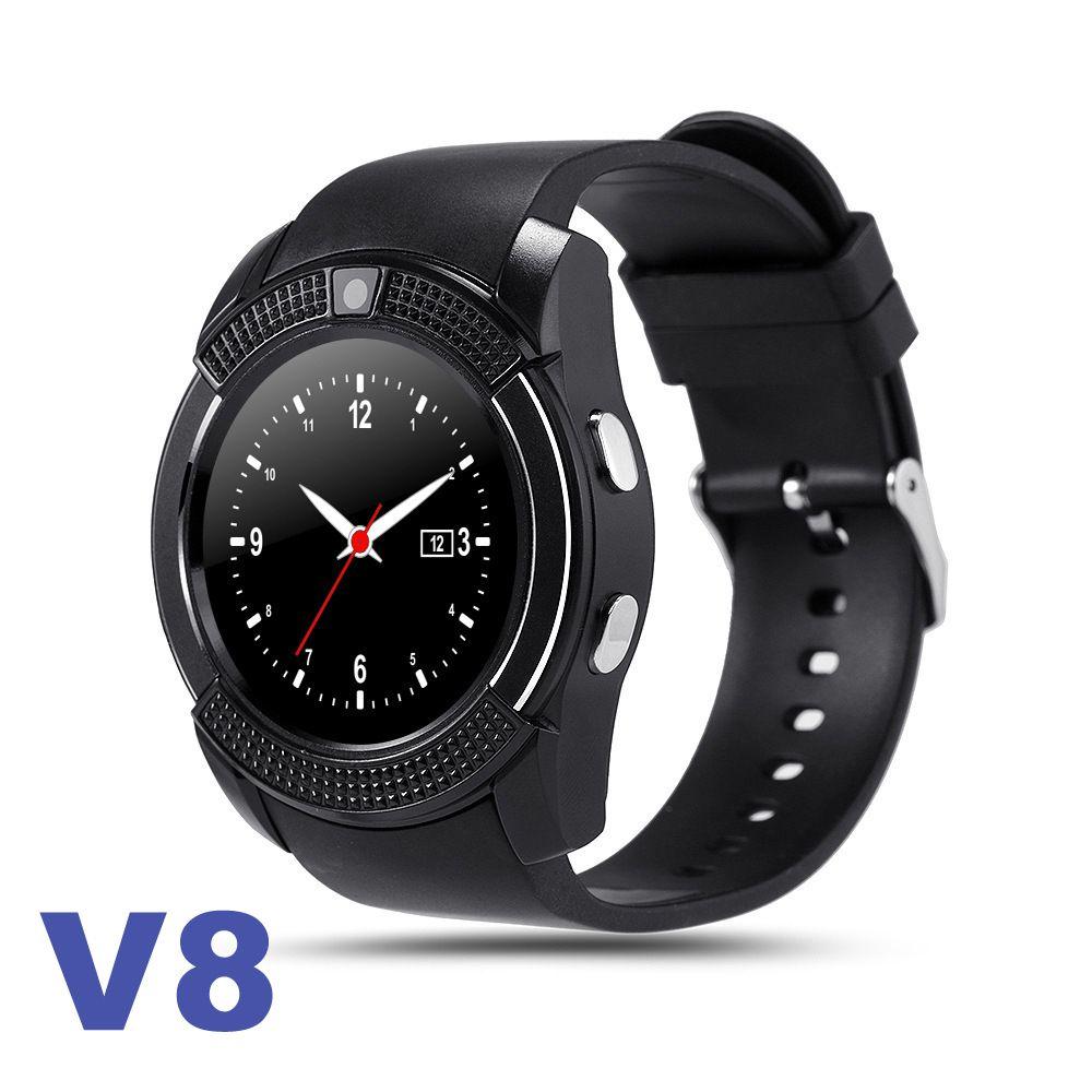 V8 스마트 시계 손목 밴드 시계 0.3M 카메라 SIM TF 카드 IPS HD 원형 스크린 소매 상자가있는 안드로이드에 대한 Smartwatch