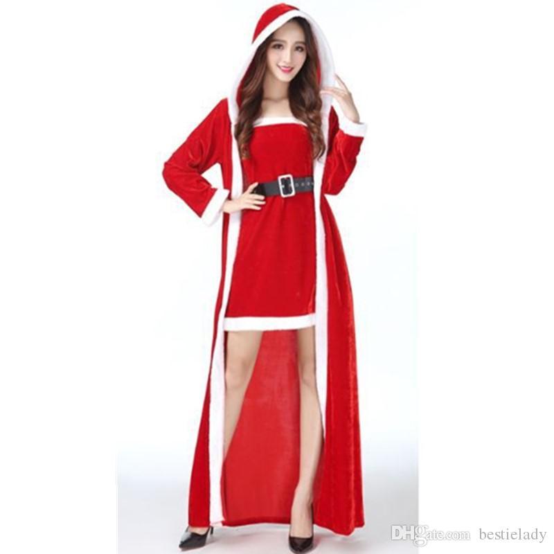 3pcs delle donne Abito a fascia maxi mantello incappucciato e Cintura Velvet Costume di Natale la signora Babbo Natale di Cosplay Night Club Partito Outfit