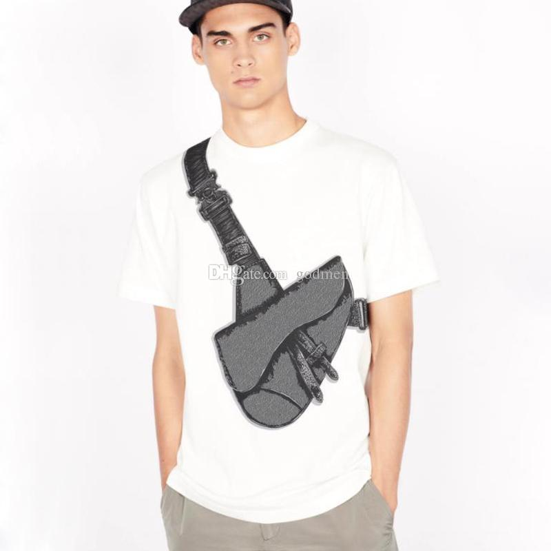 20SS 안장 가방 인쇄 된 T 셔츠 패션 하이 스트리트 반팔 여름 티 캐주얼 T 셔츠 단색 통기성 남성 여성 코튼 티