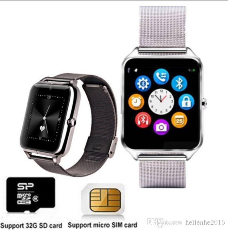 الفولاذ المقاوم للصدأ Watchband الذكية ووتش بلوتوث النساء الرجال ووتش SIM TF بطاقة الكاميرا Smartwatch تويتر ، الفيسبوك PK DZ09
